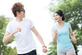Cheerful joggers — Stock Photo