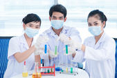 Lab cheers — Stock Photo