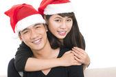 Santa cap couple — Stock Photo