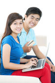 E-shopping for couple — Stock Photo