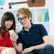 Stock Photo: Teenagers at home