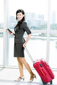 Business lady with suitcase — Stock Photo