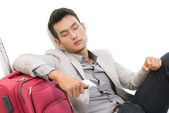 Sleeping in airport — Stock Photo