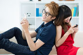 Teenagers with mobile phone — Stock Photo