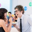 Flirting at party — Stock Photo