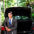 Businessman and his car — Stok fotoğraf