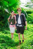 Backpacking tourists — Stock Photo