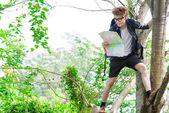 Turysta na drzewo — Zdjęcie stockowe