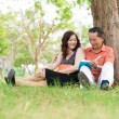 Sitting on the grass — Stock Photo