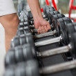Row of barbells — Stock Photo