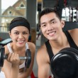 Dumbbell couple — Stock Photo