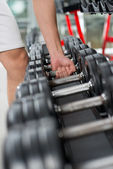 Row of barbells — Foto Stock