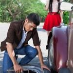 riparazione ruota — Foto Stock
