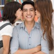 Stock Photo: Friends kissing