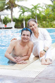 Relaxing in the pool — Stock Photo