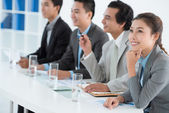 Business lady at the presentation — Stock Photo