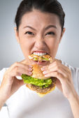 Hamburger eater — Stock Photo