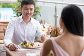Lunch at restaurant — Stock Photo