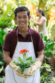 Happy mature gardener — Stock Photo