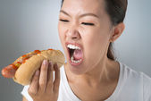 Crazy for hot-dog — Stock Photo