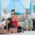 Happy mixed family — Stock Photo