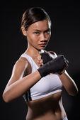 Female kick boxer — Stock Photo