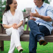 Talking outside — Stock Photo