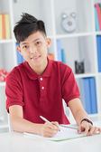 Diligent schoolboy — Stock Photo