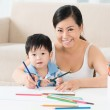 Drawing with mom — Stock Photo