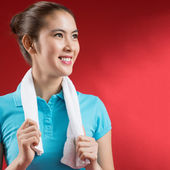 Sweating sportswoman — Stock Photo