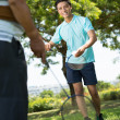Playing badminton — Stock Photo