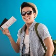 Guy with air ticket — Stock Photo