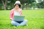 Networking in the park — Stock Photo