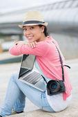 Freelance lovely photographer — Stock Photo