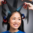 With hair-curlers — Stockfoto