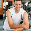 Guy in gym — Stock Photo