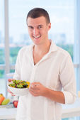 Portrait of vegetarian — Stock Photo