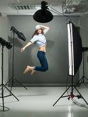 Jumping model — Stock Photo