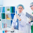 Young researchers in the laboratory — Stock Photo