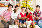Asian family celebrating the Chinese New Year — Stock Photo