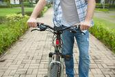 Riding a modern bike — Stock Photo