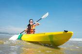 Rowing girl — Stock Photo
