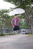 Umbrella levitation — Stock Photo
