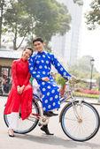 Vietnamita in bicicletta — Foto Stock
