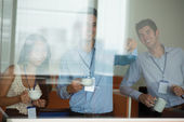 Peeping colleagues — Stock Photo