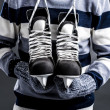 Stock Photo: Mwith hockey skates