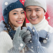 Stock Photo: Couple in-love in winter