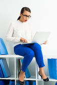 Businesswoman networking — Stock Photo