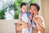 Vacations with father — Zdjęcie stockowe