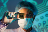 Microchip analyzing  — Stock Photo